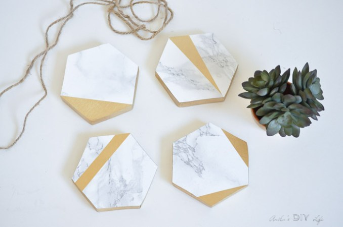 Gold and marble coasters Anikas DIY Life final