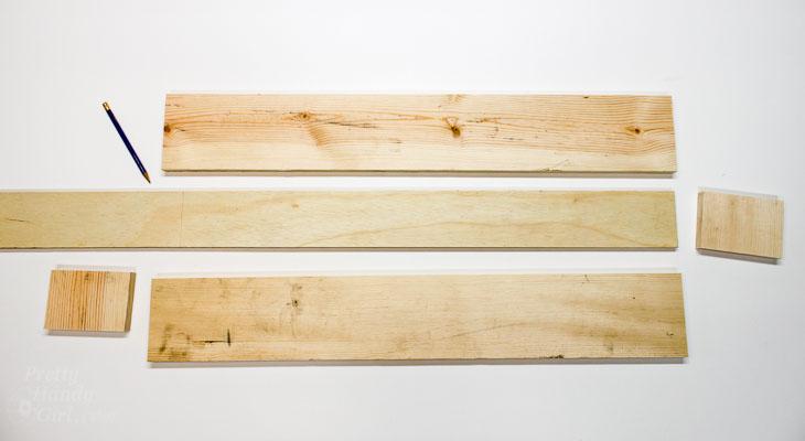 Cut Pieces for Rustic Wood Centerpiece trough.