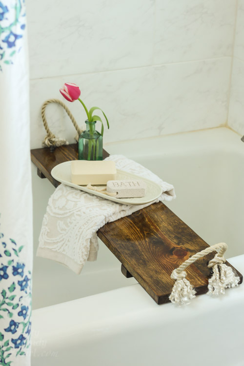 build your own rustic wood bathtub tray pin