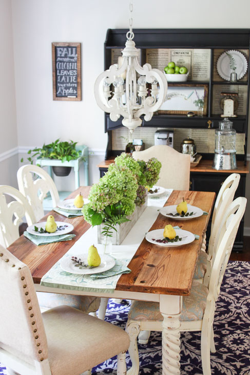 Rustic Fall Tablescape with hydrangeas and pears