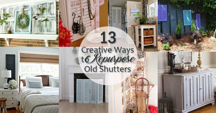 creative ways to repurpose old shutters - social media image