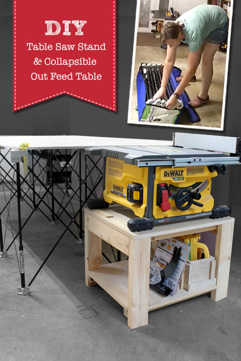 Finally found a solution to having a garage workshop and being able to park the car in the garage when needed. Check out this collapsible work table and make your own table saw stand!