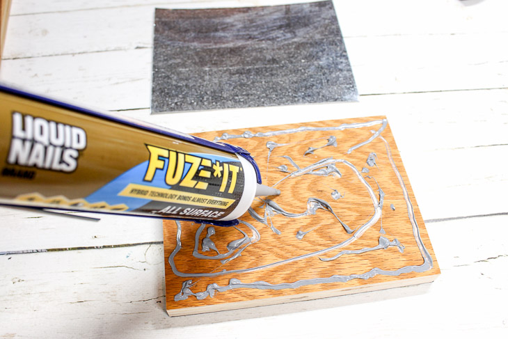 5. Add Construction Adhesive to wood base