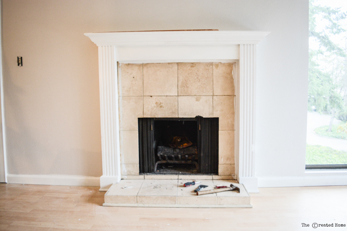 tile fireplace before