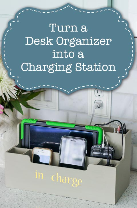 Simple Upcycle Idea! Make your own charging station with of an old desk organizer.