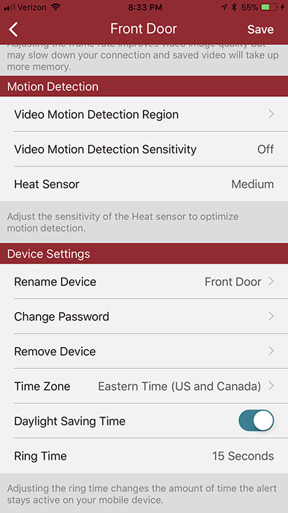 set motion and heat settings