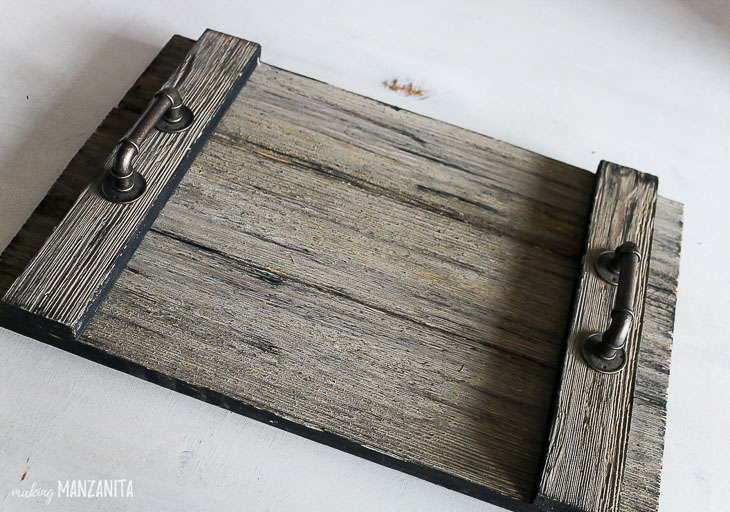 rustic gray painted wood farmhouse tray