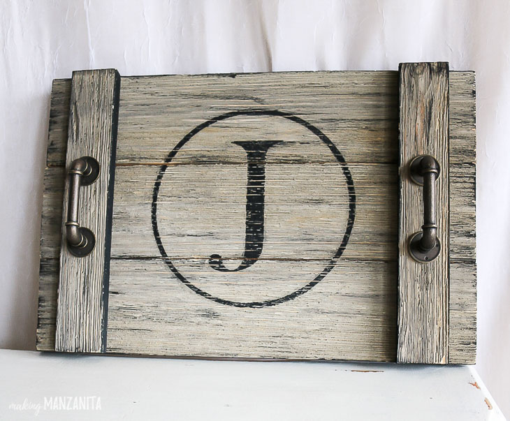 J Monogram Rustic wood serving tray