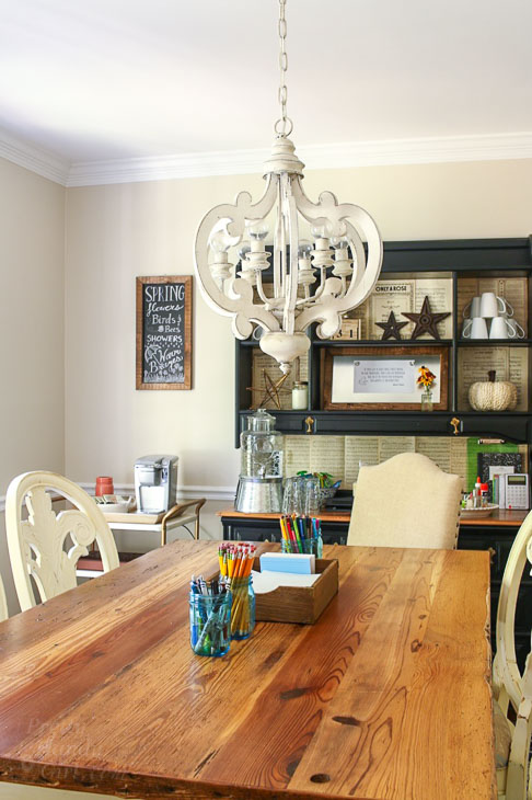 dining room reused as homework station also good for home schooling