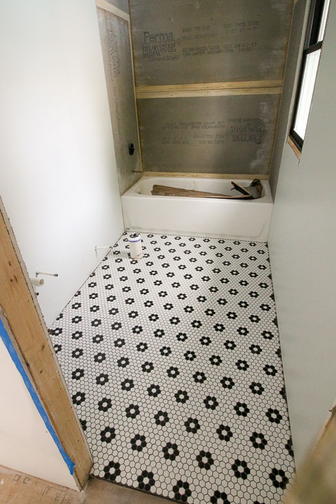 Floral Terrace small hex tiles installed in bathroom