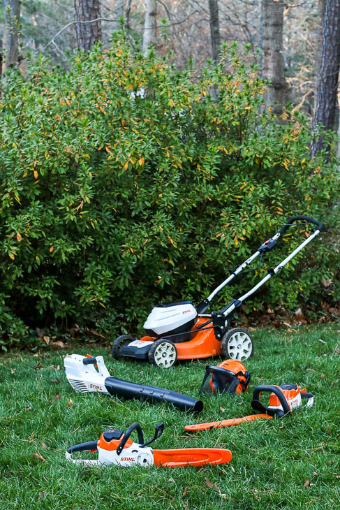 STIHL battery powered tools: mower, blower, hedge trimmer, and chainsaw