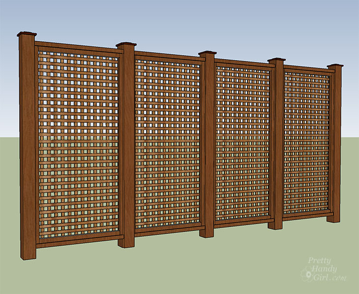 completed window pane lattice privacy fence