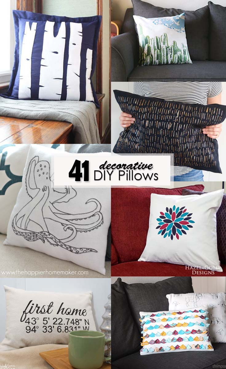 41 Decorative DIY Pillows - Pinterest Image