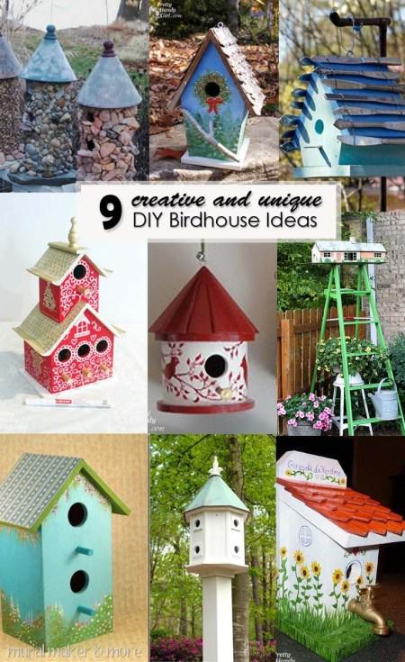 9 Creative and Unique DIY Birdhouse Ideas - Pinterest Image