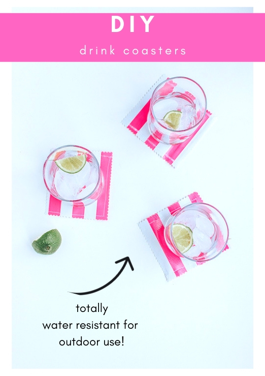 DIY Drink Coasters - Water Resistant fabric and perfect for Outdoor Use and Summer Parties!