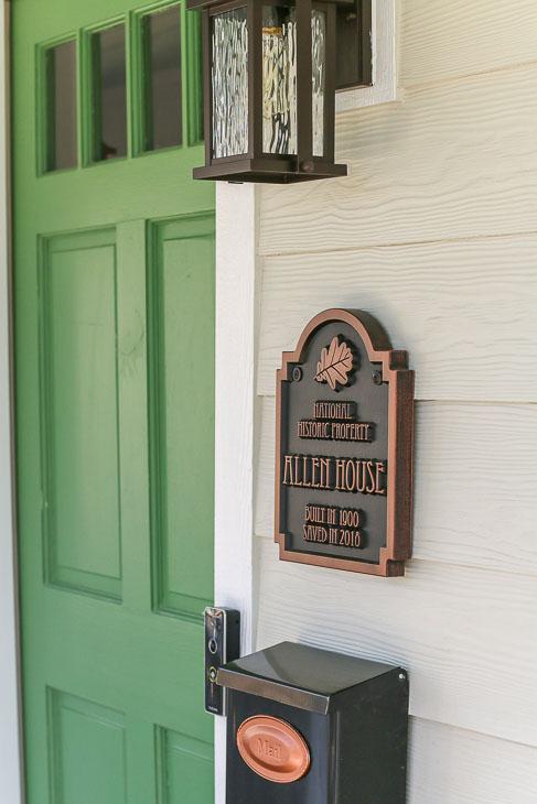 Magnolia Green Door with Locally Sown Magnolia Home Paint on Siding