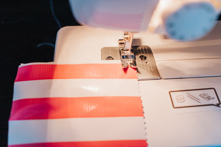 sew both layers or oilcloth fabric together