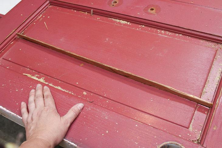 Test fit wood spline in door crack