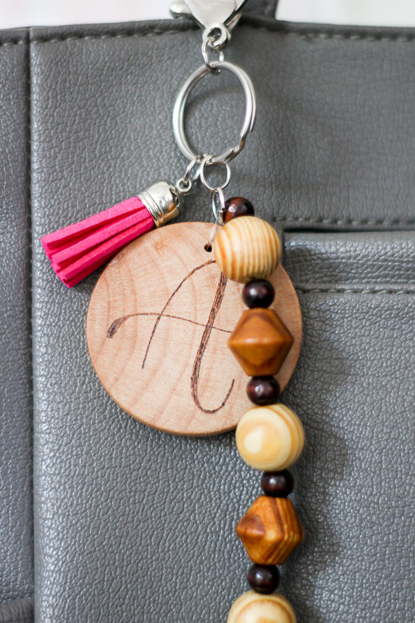 personalized wood burned keychain
