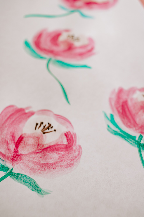 A set of watercolor peony flowers