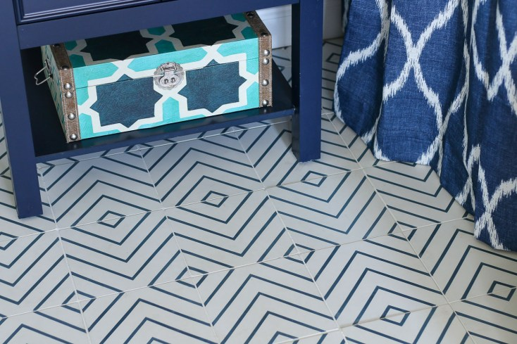 Lili Cement Tile Mia 4, Navy and White diagonal box tiles