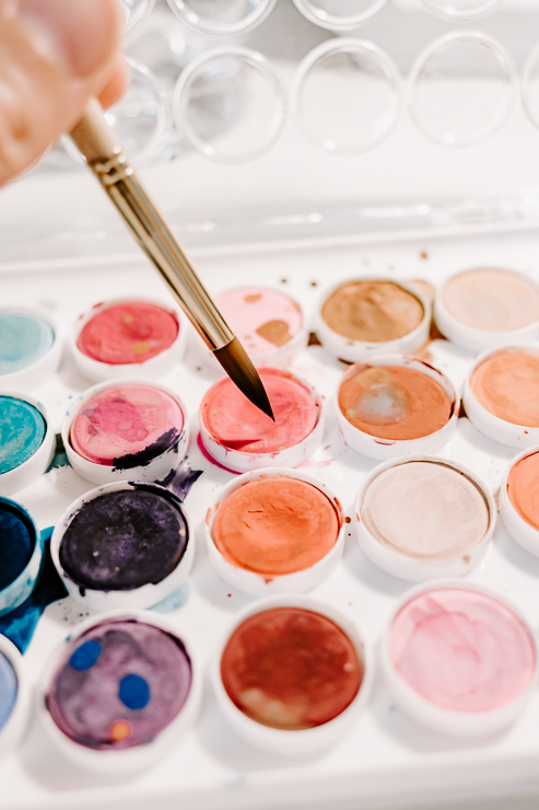 watercolors with a paintbrush