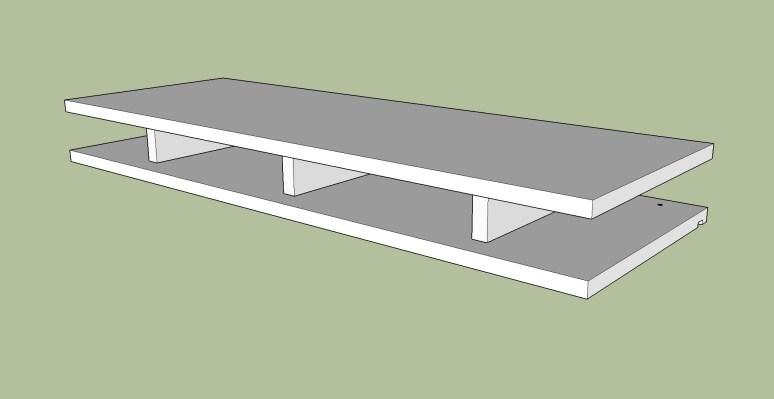 assembled top bottom shelf pieces