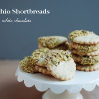 Pistachio Shortbreads Dipped in White Chocolate