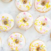 Lemon Cake Donuts with Fancy Sprinkles