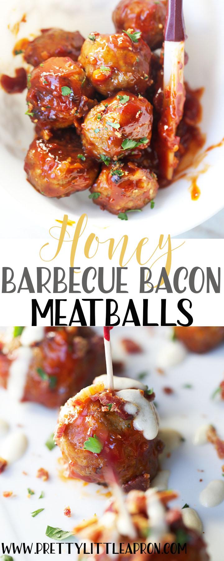 Honey Barbecue Bacon Meatballs #meatballs, #meatballsrecipes, #barbecue, #honeybarbecue, #gamedayrecipes, #superbowlrecipes