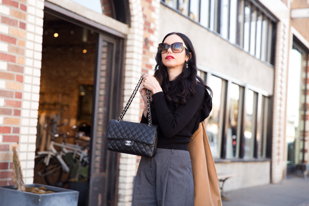 Black Sweater with Grey Slacks