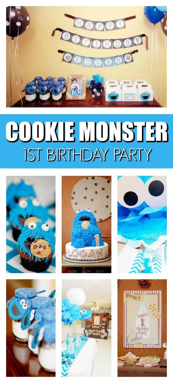 cookie monster 1st birthday pretty my