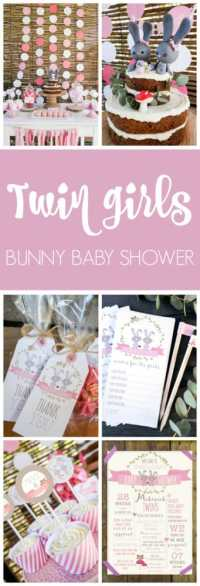 Twin Bunnies Baby Shower - Pretty My Party