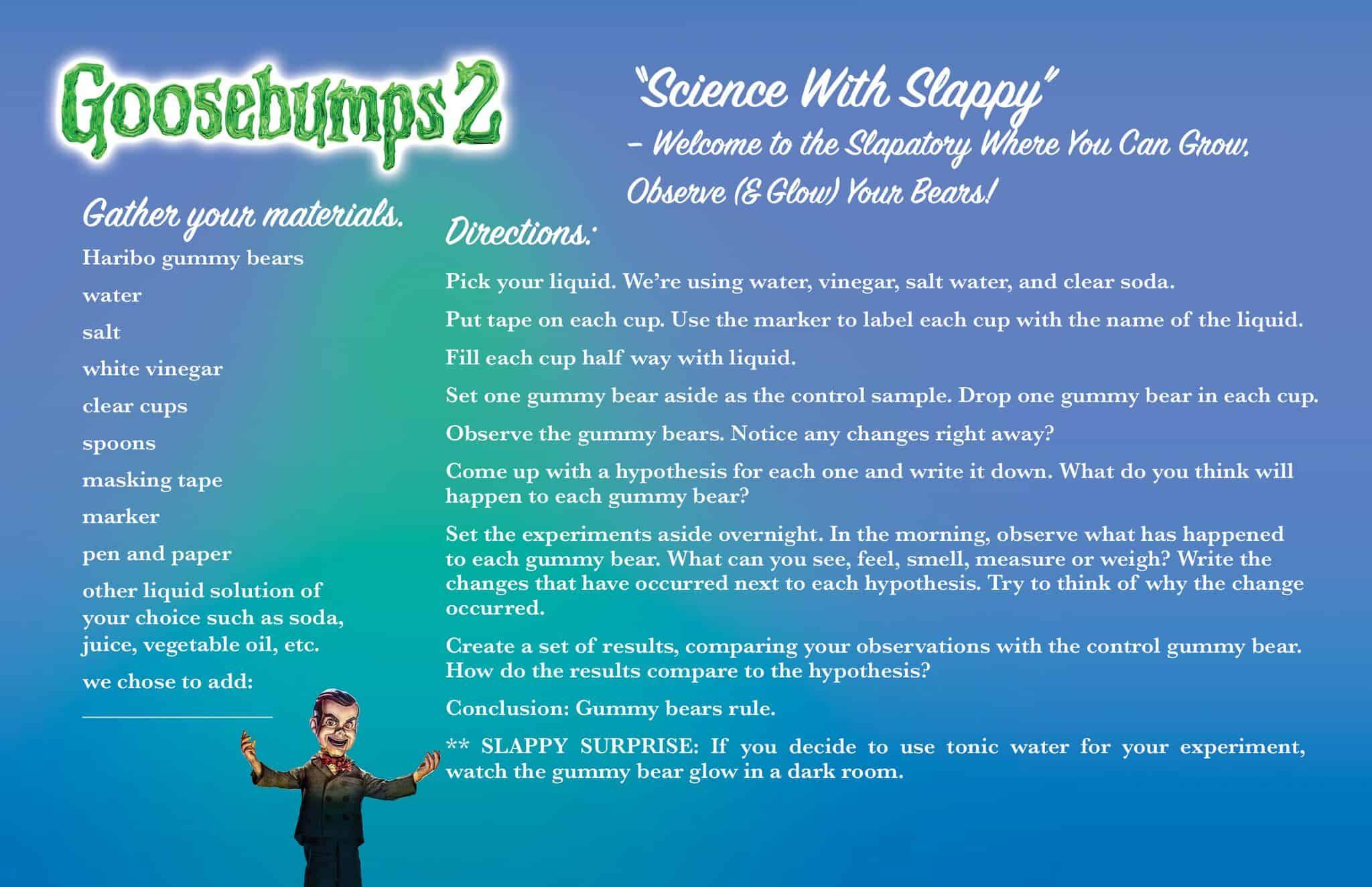 Goosebumps 2 Gummy Bear Slime Recipe Science Experiments