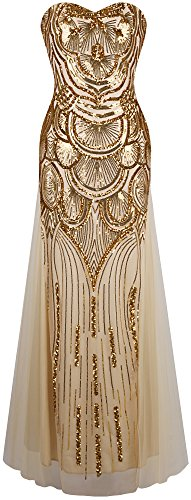 Angel-fashions Women's Sequin Gold Mesh Lace up Banquet Dress