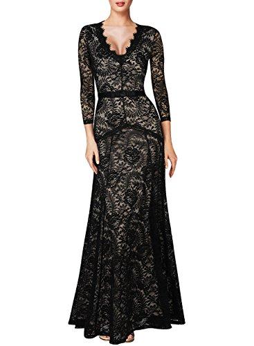 Miusol® Women's Floral Lace 2/3 Sleeves Long Bridesmaid Maxi Dress