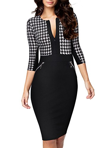 Miusol® Women Formal Houndstooth-Print Optical Illusion 2/3 Sleeve Business Dress