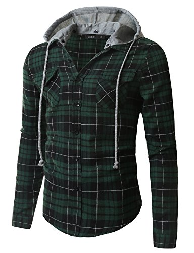 Doublju Mens Long Sleeve Casual Hood Zip-up Inner Color Blocked Check Shirt