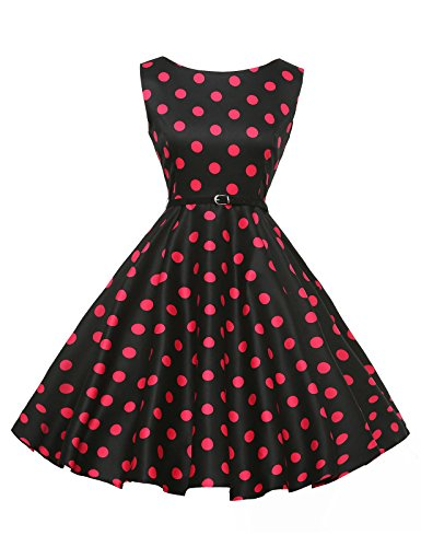 GRACE KARIN® Sleeveless Cotton Rockabilly Tea Dress with Belt VL6086 (Multi-Colored)