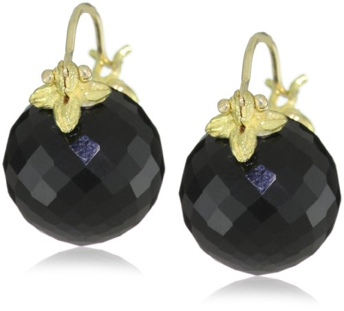 Gabrielle Sanchez 12mm Round Faceted Black Onyx Flyer Earrings