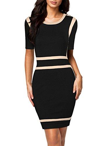 Miusol® Women's Scoop Neck Optical Illusion Business Bodycon Dress