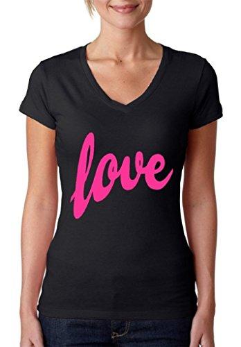 Raxo Women's Love V-neck T-shirt Pink Gift for Girlfriend Valentine's Day Shirt