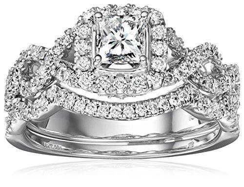 IGI Certified 14k White Gold Diamond Halo Infinity Twist Bridal with Princess-Cut Center Wedding Ring Set (1 cttw, H-I Color, I1-I2 Clarity)