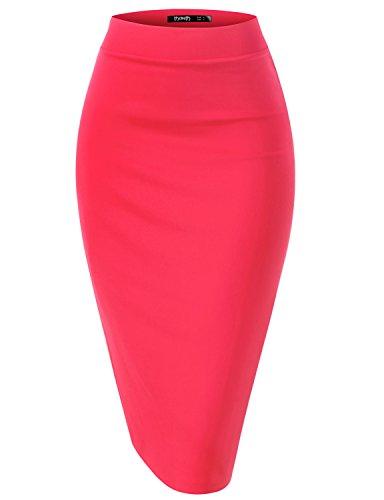 Thanth Womens Elastic Waist Band Scuba Stretchy Fabric Pencil Skirt