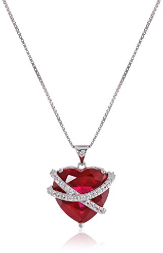 Sterling Silver Created Ruby and Created White Sapphire Wrapped Heart Pendant Necklace, 18″