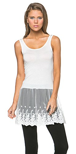 Womens Casual Basic Tank Top Lace Bottom Dress
