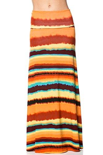 Womens Tie Dye Maxi Skirts Fold Over Skirts Long Skirt Dress Printed Skirts