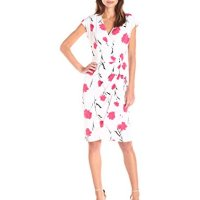 Lark & Ro Women's Poppy Print Cap Sleeve Wrap Dress