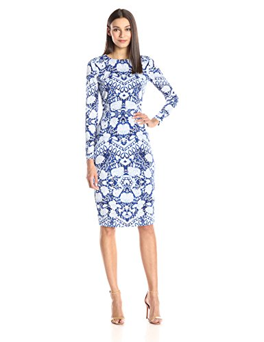 Maggy London Women's Etched Flower Jersey Midi Dress