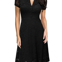 Miusol Women's Cap Sleeve 1950s Style Vintage Black Lace A-line Dress